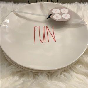 """Rae Dunn Set of 4 100% Melamine Plates  """"Fun"""""""
